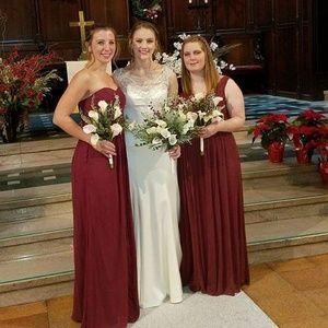 **SOLD** Wine Colored Bridesmaid Dress